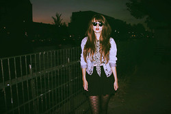 Martine Haanschoten - Primark Crop Top, Primark Denim Jacket, H&M Skirt, Primark Tights, Ray Ban Sunglasses - Retrograde.