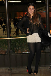 Morgan Zakarin - Free People Black Chiffon Blouse, Lace Dress Shorts, Christian Louboutin No Prive Black Patent Cork Pumps, Opaque Black Tights, Denim And Supply Fur Bomber Jacket - Night out in NYC