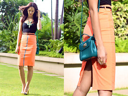 Patricia Prieto - Bench Top, Furla Purse, Reetail Frenzy Pencil Skirt, Primadonna Pumps - Orange You Glad