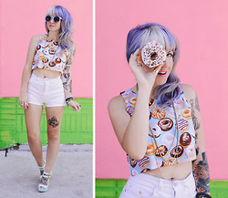 Jessie Barber - Etsy Donut Crop Top, Thrift + Diy White High Rise Shorts, Shoedazzle Mint Wedges, Topshop Necklace, Topshop Rings, Urbn Sample Sale Candy Sunglasses - Dollars to Donuts