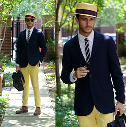 Adam Gallagher - Similar Here  > Blazer, Similar Here  > Tie, Hat, Yellow Chinos, Ted Baker Bag, Similar Here  > Oxfords, Ray Ban Clubmasters - Gatsby Inspired