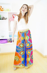 Marie McGrath - Forever 21 Palazzo Pants, Forever 21 White Crop Top - Boho Chic outfit