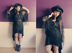Amanda Ochoa - Vintage Hat, Vintage Lace Poncho, Forever 21 High Low Dress, Deena & Ozzy Boots, N/A Shed Antler Necklace - .::| 3 |::.