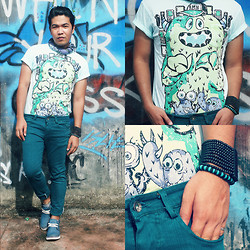 John Roy Agcaoili - Human Monster Printed Shirt, Teal Chinos, Wooden Inspired Bracelet - Right Play