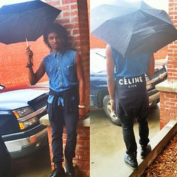 Corey Randle - Urban Outfitters Celine Dion Sweatshirt, Levi's® Black Skinny Jeans, Polo Ralph Lauren Thrifted Jean Button Up, Dr. Martens Black Dr - Under my umbrella