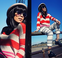 Priscila Diniz - Shop126 Striped Sweater, Shop126 Aztec Print Jeans, Chemjoy Crystal Transparent Sunnies - My dreams is never enough