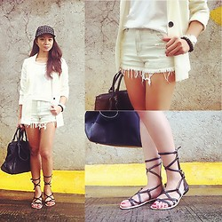 Lui Raymundo - Stradivarius Top, Vanilla Breeze Clothing Light Washed Shorts, H&M Blazer, Tory Burch Tote, Tonic Bags And Shoes Gladiators, Sm Accesories Ball Cap - Tough Chic!