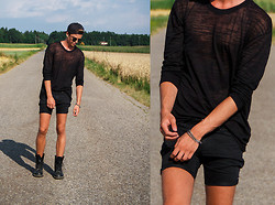 Georg Mallner - Weekday Sheer Longsleves, Cheap Monday Shorts, Dr. Martens Boots, Nike Cap - August 8, 2013