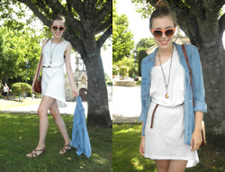 Victorias Run - H&M Dress, Zara Shirt, Zara Sunglasses, Fosco Sandals, Bijou Briggite Necklace, H&M Belt - Easy
