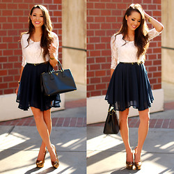 Jessica R. - Sheinside Lace And Navy Skater Dress, Prada Saffiano Lux - Lace and Navy