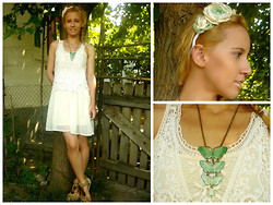 EbonyVintage Nahoot - Malibu Leather Sandals, Ahaishopping.Com Embroidery Dress, Ebony Vintage Handmade Floral Headband, Vintage Butterflies Necklace - Embroidery Summer Dress