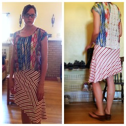 Nami❀ K - Younkers Multicolor Print Lace Back Sheer Top, Clothing Swap Stripey Asymmetric Hem Dress, Thrift Quick Sandals, Alvernon Optical Glasses - Keep on keepin' on