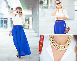 Olga Choi - Choies Bag, Awwdore Necklace, Forever 21 Skirt, Zerouv Glasses, Persun Bracelet, 8 Seconds Sandals - White summer