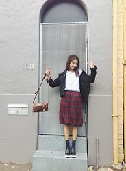 Yan Yan Chan - American Apparel Tee, Vintage Skirt, Jeffrey Campbell Platform Loafers, Levi's® Denim Jacket - The plaid skirt