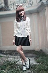 Jamaica C - Usamimi, Bunchies Socks, Queen City Creepers, Roulailai Skater Skirt, Ruffled Long Sleeves - Casual Kawaii