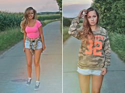 Anastasya Chernook - Zara Camo Sweater - CANYON REBEL