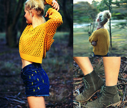 Sophie A - Glassons Mustard Sweater, Rubi Shoes Boots - Lightning! Hot and Dangerous.