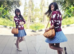 Stevia Indrawan - Vintage Sling Bag, Amore Knit Maroon Sheep Jumper, Topshop Polkadot Denim Skirt - Maroon Sheep Jumper