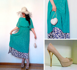Jessie Yin - Aqua Green Dress, Printing Silk Dress, Heart Shaped Clutch, Cream Coloured High Heels - A brand new start