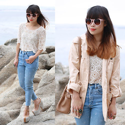 Toshiko S. - Zerouv Sunglasses, Lucca Couture Festival Crochet Crop Top, My Mom's Vintage High Waisted Floral Embroidered Jeans, Jeffrey Campbell The Stunning, Forever 21 Lightweight Blush Cargo Jacket, Samantha Wills Manik Ring - Mom's Jeans, Literally.