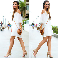 Melanee Shale - Ami Clubwear White Dress, Dailylook Simple Strap Heels, Charlotte Russe Brown Cross Body Bag - Life's a Beach x Two