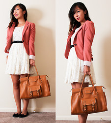 Angie C - H&M Pink Blazer With Ruffles, Forever 21 Lace Dress, Melie Bianco Camel Satchel Tote Bag - She painted white roses with lace all for a pinky swear