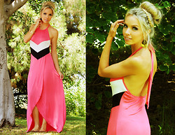 Caitlyn Wilson - Pink Basis Maxi Dress, Local Boutique Thong Sandals, Vintage Gold Earrings - Hot Pink Tulip