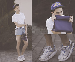 Filip Kuneš - Diy 'Paper Bag' Clutch, Lakers Cap, Diy Highwaisted Shorts, Basic T Shirt - SS '95