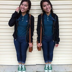 Anna Ordonez - Converse Green Chucks, Jeggings - Holister and bows