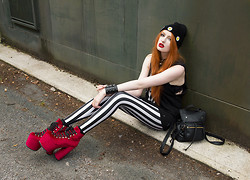 Olivia Emily - Dark Moon Boutique Daisy Beanie, Unif Skull Hand Tank, Black Milk Clothing Beetlejuice Leggings, Unif Red Velvet Hellbounds, Topshop Backpack - Hellbound.