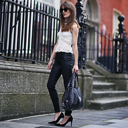 Anouska Proetta Brandon - Miss Selfridge Lace Peplum, Guess? Wax Effect Jeans, Dorothee Schucmacher Heels - Leather,lace & suede.