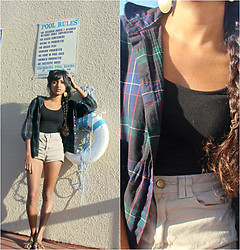 Sneha Bee - Gap Plaid Button Down, American Apparel Tan Highwaisted Shorts, H&M Black One Piece, Oval Gold Earrings, India Mirror Sandals - Tape side up