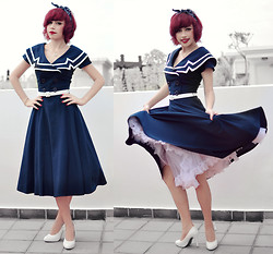 Andrea Ladstätter - Bettie Page Navy Sailor Swing Dress, Bettie Page White Swing Petticoat, Off Brand White Ribbon Heels - Hello Sweetie, I'm back!