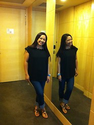 Leign Gamit - Forever 21 Black Top W/ Gold Collar Studs, Salsa Slim Fit Jeans, Charles & Keith Black Flat Sandals - Missing you...
