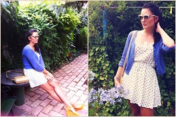 Viktoria M - H&M Summer Knitted Cardigan, Vintage Polka Dot Summer Dress, Vintage Platform Sandals, Prada Sunglasses, Vintage Matting Bag, Viktoria M/Limited Handmade Design/ 'Snowwhite's Snowflake'necklace - Easy like Sunday mornin',