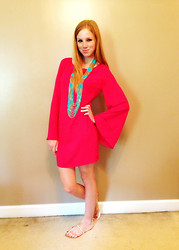 Lea L. - Wish Pink Dress, Dillard's Teal/Gold Chained Necklace, Belks Gold Three Strapped Sandals - The Fashionable Sweetheart