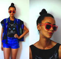 Luna Nova - Wholesale Celebshades Clear Red Frame Retro Shades, Vintage Tribal Vest, Thrifted Cat Bodysuit, Thrifted Blue Leather Ish Shorts - Over the Sun and Under the Radar