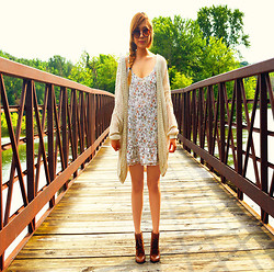 Jennifer P - Brandy Melville Usa Moselle Cardigan, Thrifted Leather Boots, Vintage Floral Dress - A Summer Stroll