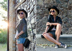 Anastasia U. - Oasis Leather Biker Jacket, Topshop Hat, Vancl Denim Shorts, Converse, Michael Kors Oversized Watch - Watch out