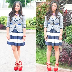 Glaiza Homez - Debenhams Blazer, Forever 21 Dress, Maldita Belt, Shopberrylush Heels - NAUTICAL