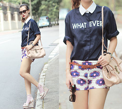 Mayo Wo - Frontrowshop Whatever Shirt, Romwe Retro Print Shorts - Monday attitude