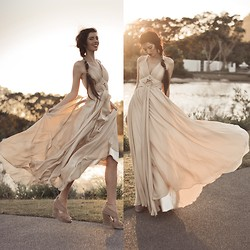 Elle-May Leckenby - Draping Chiffon Evening Gown, Fabric Wedges - Take me out