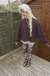 Nicola Boraston - Sin Star Black Hawaiian Leggings, Topshop Silver Mesh Shirt, Diy Studded Sweater, Dr. Martens Studded Liza Sandals - SINSTAR look #1