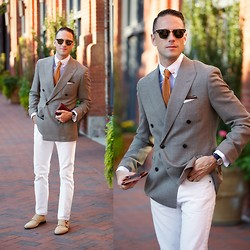 Brian Sacawa - Reiss Shoes, Ray Ban Sunglasses, Deo Veritas Shirt, Vintage Collar Bar, The Tie Bar, Reiss Blazer, The Tie Bar Pocket Square, Timex Watch, J. Crew Jeans - Double double