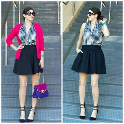 Laura Yazdi - Just Fab Black Heels, Olivia & Joy Colorblock Bag, Express Pink Sweater, Express Black Skirt, Vince Camuto Houndstooth Top - New York Editor