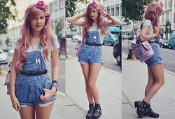 Amy Valentine - Urban Outfitters Sheer Tee, Rokit Vintage Denim Dungarees, Grafea Lavender Rucksack, Tprbt Stripe Socks, Jeffrey Campbell Spiked Coltranes - FATE FELL SHORT THIS TIME