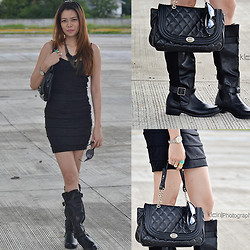 Liz Verdad - Sophie Paris Black Purse, Payless Shoesource Boots - Rock and Roll