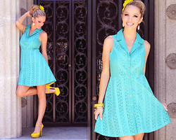 Caitlyn Wilson - Pink Basis Blue Dress, Ross Yellow Heel, Claire'S Gold Earring - The Sun & Sky