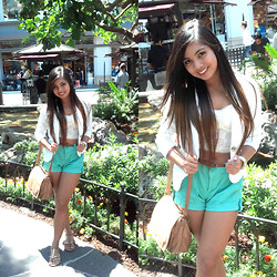 Ron Barba - Forever 21 White Summer Blazer, Forever 21 Lace Bustier, Gap Mint Loose Style Shorts, Céline Floral Belt, Wilsons Leather Brown Sling Bag - White and Mint