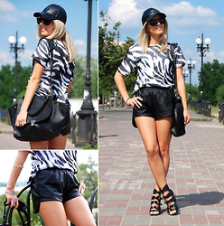 Iren P. - Sheinside Faux Leather Shorts, Steve Madden Gladiator Wedges, Reserved Faux Leather Cap, Similar Here: Zebra Print Tee - Zebra print & Leather